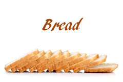 Bread. Porous sliced white bread on white isolated background with inscription Royalty Free Stock Image