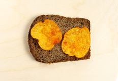 Bread with chips. Royalty Free Stock Photo