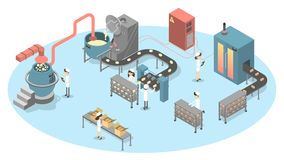 Bread production set. People on factory making bread stock illustration