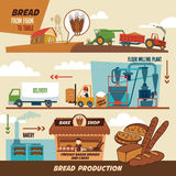 Bread production stages. Stages of production of bread. From wheat harvest to freshly baked bread, from farm to table Stock Photo