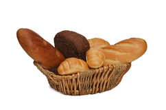 Bread products in basket Royalty Free Stock Photography