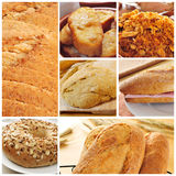 Bread products collage. A collage of different bread products collage such as bread slices, french toasts, a bagel topped with seeds or a spanish submarine Stock Photography