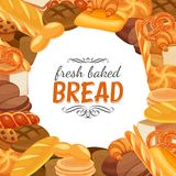 Bread products. Frame template with bread products. Rye bread and pretzel, muffin, pita, ciabatta and croissant, wheat and whole grain bread, bagel, toast bread stock illustration