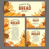 Bread products. Identity template food with bread products. Rye bread and pretzel, muffin, pita bread, ciabatta and wheat bread, croissant, whole grain bread royalty free illustration