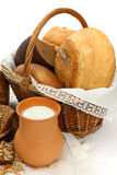 Bread products with milk Stock Images