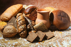 Bread products and  milk Royalty Free Stock Image