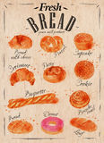 Bread products poster kraft Royalty Free Stock Photo