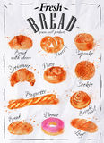 Bread products poster paper. Bakery products painted watercolor poster with different types of bread products in paper Royalty Free Stock Photography