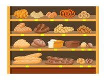 Bread products in shopping mall. Bread products in shopping mall supermarket interior. Whole grain, wheat and rye bread, toast, pretzel, ciabatta, croissant vector illustration