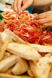 Bread and prosciutto Royalty Free Stock Photography