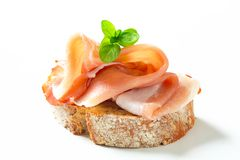 Bread with prosciutto Royalty Free Stock Photos