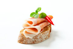 Bread with prosciutto Royalty Free Stock Photography