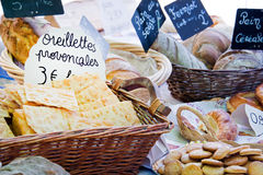 Bread and provencal pastries Stock Photos