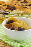 Bread pudding. Homemade tasty bread pudding with raisins, in vertical format Stock Image