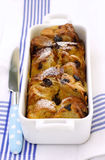 Bread pudding. Raisin orange bread pudding baked in a terrine mold Stock Photography