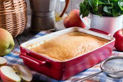 Bread pudding breakfast casserole with apples Stock Photos