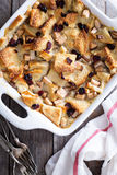 Bread pudding breakfast casserole with pear Stock Photos