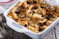 Bread pudding breakfast casserole with pear Royalty Free Stock Photo