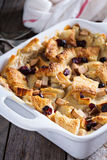 Bread pudding breakfast casserole with pear Stock Images