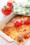 Bread pudding with cheese and tomatoes Royalty Free Stock Images