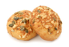 Bread with pumpkin seed and cheese stock photos
