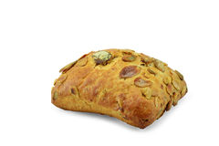 Bread with pumpkin seed on a white background. Closeup Stock Photos
