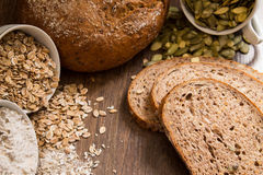 Bread with pumpkin seeds, flax and sesame seeds Stock Images