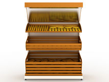 Bread rack with bread loaf  �3 Stock Photography