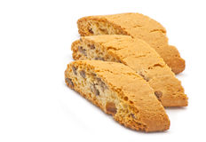 Bread with raisins. Three pieces of bread with raisins and chocolate  on white Royalty Free Stock Photo