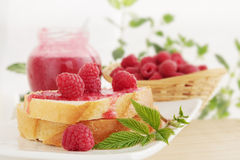 Bread with raspberry jam Royalty Free Stock Image