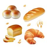 Bread realistic vector bakery icons set. Loaf, croissant and bun royalty free illustration