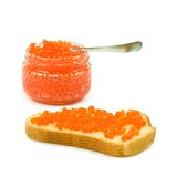 Bread with red caviar and a jar with red caviar Stock Image