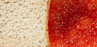 Bread and red caviare Royalty Free Stock Photography