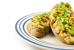 Bread with red lentil spread and tofu Stock Photos