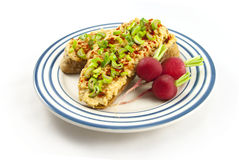 Bread with red lentil spread and tofu Stock Images