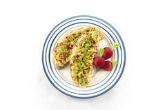 Bread with red lentil spread and tofu Royalty Free Stock Image