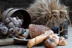 Bread, retro. Bread and baker setout, retro detail royalty free stock photos