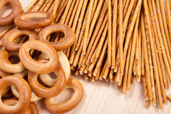 Bread ring and breadsticks Stock Photography