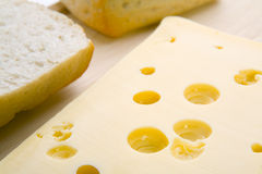 Bread roll and cheese Stock Images