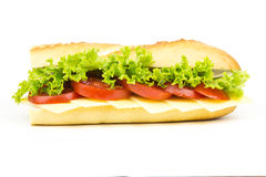 Bread roll 5. Bread roll with cheese tomatoes and salad royalty free stock photos