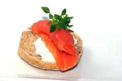 Bread roll with cottage cheese and salmon Stock Images