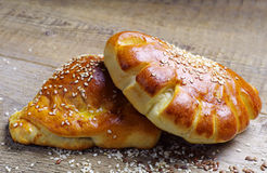 Bread roll and croissant Stock Image