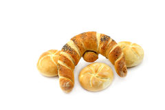 Bread roll and croissant Stock Photography