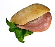 Bread roll with mortadella Stock Image