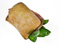 Bread roll with mortadella Stock Images
