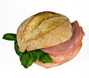 Bread roll with mortadella Royalty Free Stock Photography