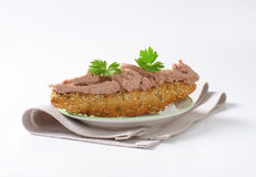 Bread roll with pate Stock Images