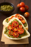 Bread Roll with Pesto and Roasted Tomato Royalty Free Stock Image