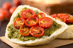 Bread Roll with Pesto and Roasted Tomato Stock Images