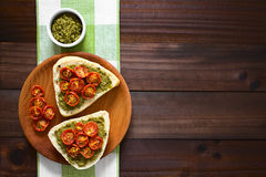 Bread Roll with Pesto and Roasted Tomato Royalty Free Stock Images